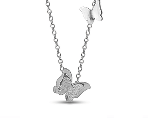 2 Butterflies Necklace in Silver