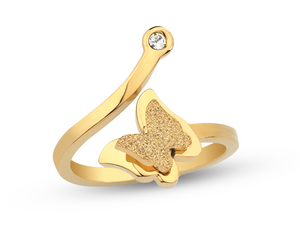 3D Butterfly Gold Ring