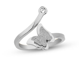 3D Butterfly Silver Ring
