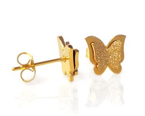 3D Butterfly Earrings in Gold