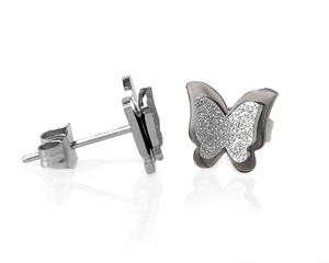 3D Butterfly Earrings in Silver