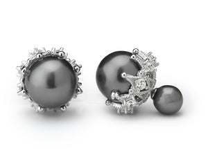 Double Pearl Earrings in Grey with Rhinestones