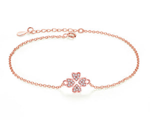 Four-Leaf Clover Bracelet in Rose Gold and Cubic Zirconia