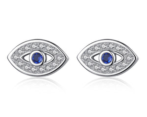 Evil Eye Earrings in Silver and Cubic Zirconia