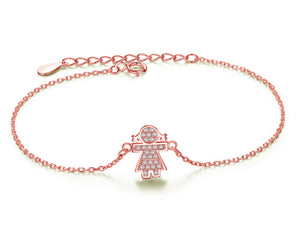 Girl Bracelet in Rose Gold and Cubic Zirconia