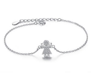 Girl Bracelet in Silver and Cubic Zirconia
