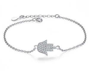 Hamsa Hand Bracelet in Silver and Cubic Zirconia