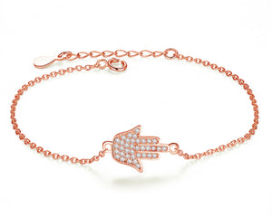Hamsa Hand Bracelet in Rose Gold and Cubic Zirconia