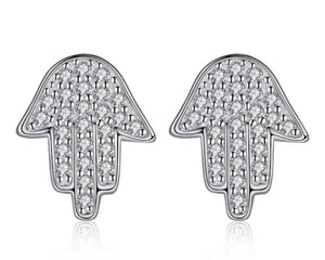Hamsa Hand Earrings in Silver and Cubic Zirconia