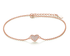 Heart Bracelet in Rose Gold and Cubic Zirconia