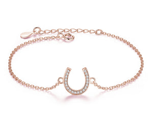 Lucky Horseshoe Bracelet in Rose Gold and Cubic Zirconia