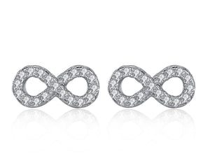 Infinity Sign Earrings in Silver and Cubic Zirconia
