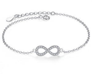Infinity Sign Bracelet in Silver and Cubic Zirconia