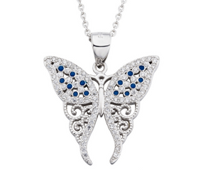 Blue Stones Butterfly Necklace