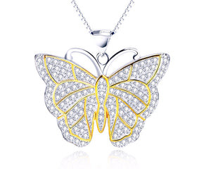 Two tone Butterfly Necklace