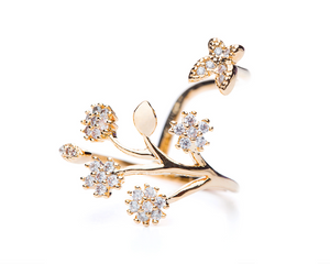 Flowers & Butterfly Adjustable Ring in Gold