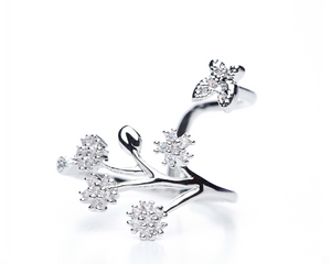 Flowers & Butterfly Adjustable Ring in Silver