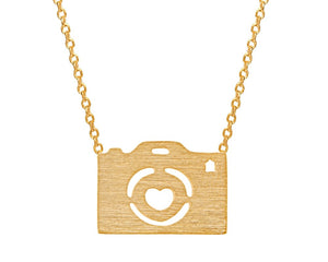 Small Camera Necklace in Gold