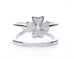 Cubic Zirconia Clover Ring in Silver