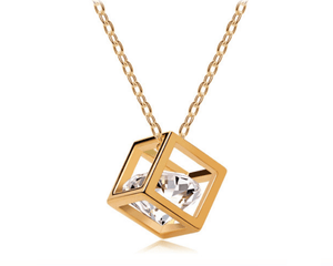 Crystal and Gold Cube Pendant Necklace