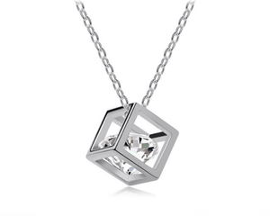 Crystal and Silver Cube Pendant Necklace