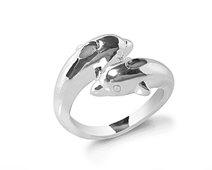 Dolphin Wrap Around Band Ring in Silver
