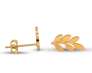 Leaf Earring Studs in Gold