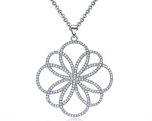 Hollow Flower Pendant with Cubiz Zirconia Necklace