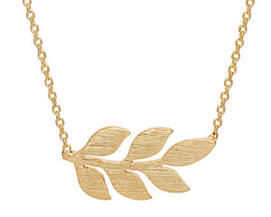 Simple Leaf Necklace in Gold