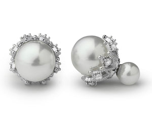 Double Pearl Earrings in White with Rhinestones