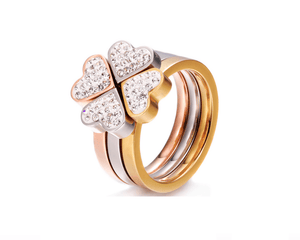 3 in 1 Tri Color Clover Hearts Ring
