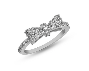 Rhinestone and Silver Bow Ring