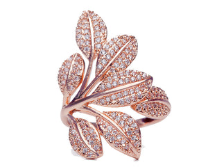 Cubic Zirconia Leaves Ring in Silver