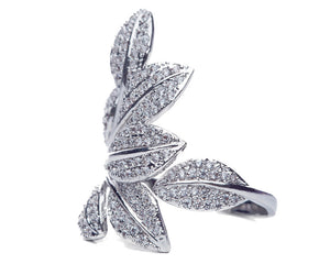 Cubic Zirconia Leaves Ring in Rose Gold