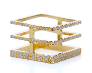 Four-Sided Gold Square Ring