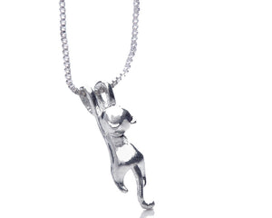 Dangling Cat Necklace in Silver