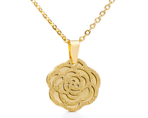 Camellia Flower Necklace in Rose Gold