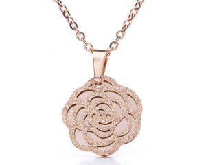 Camellia Flower Necklace in Silver