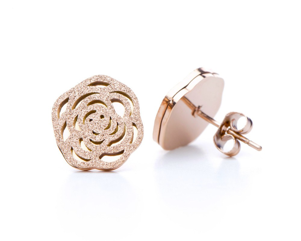 8afbaa21851 Camellia Flower Earrings in Rose Gold - Sweet Yara