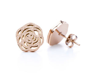 Camellia Flower Earrings in Rose Gold