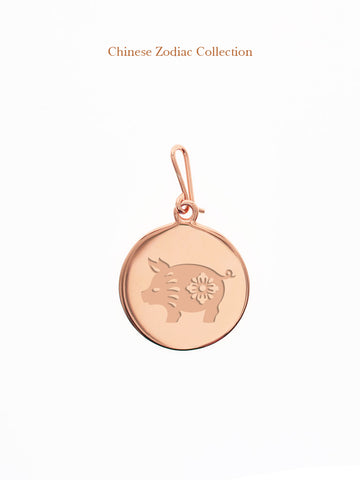 CHINESE ZODIAC Hook Charm 14k Rose Gold Dip