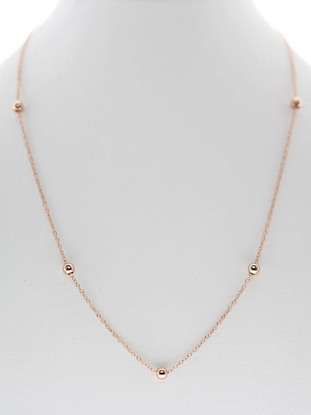Adjustable Beads Charm Necklace 14k Rose Gold Dip