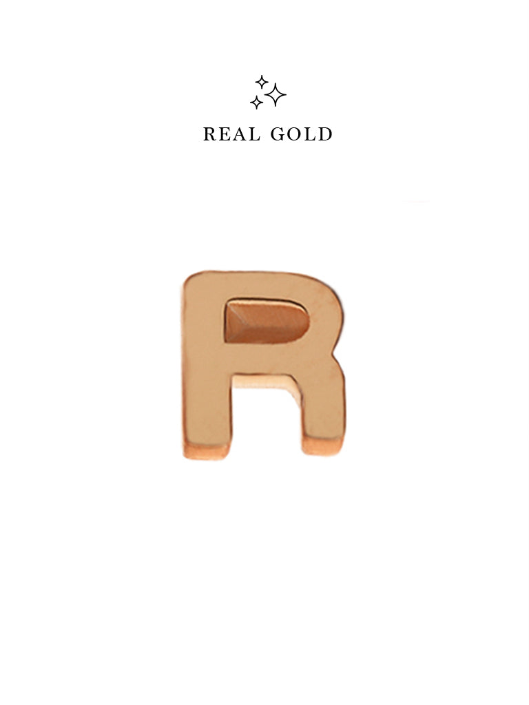 [REAL GOLD] Petite ALPHABET Earstud 18k Rose Gold