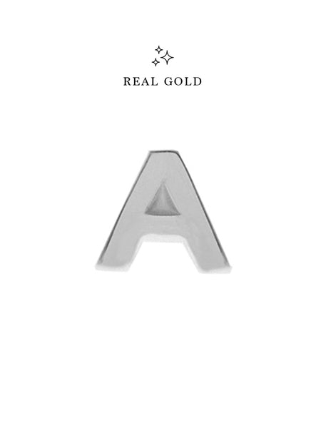 [REAL GOLD] Petite ALPHABET Earstud 18k White Gold