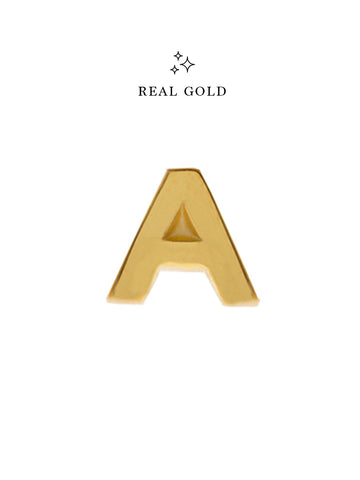 [REAL GOLD] Petite ALPHABET Earstud 16.8k Yellow Gold