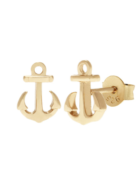 ANCHOR Ear Studs 16.8k Yellow Gold Dip