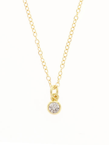APRIL Birthstone Pendant 925 Sterling Silver & Gold Dip [CRYSTAL]
