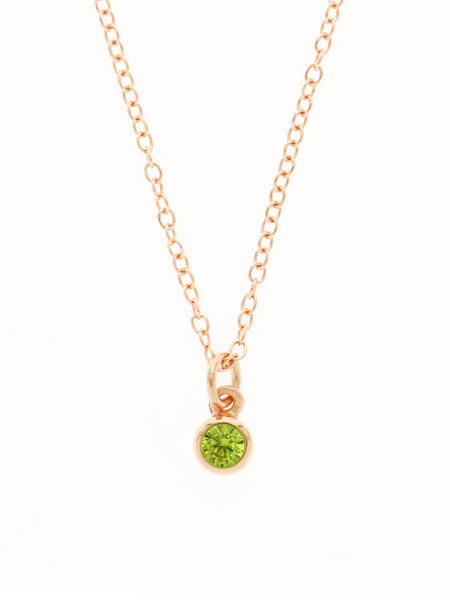 AUGUST Birthstone Necklace 925 Sterling Silver & Gold Dip [PERIDOT]