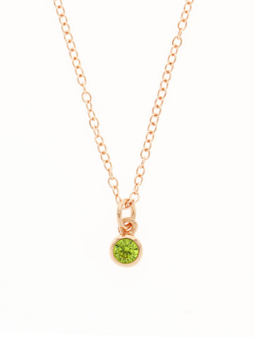 AUGUST Birthstone Pendant 925 Sterling Silver & Gold Dip [PERIDOT]
