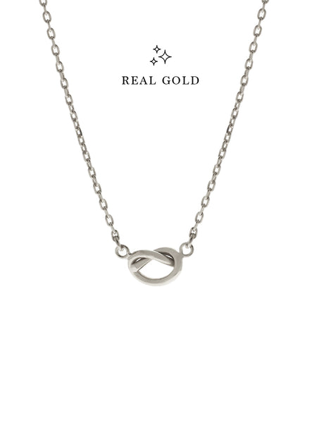 [REAL GOLD] KNOTTED HEART Necklace 18k White Gold